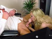 Busty blonde fucks it guy in her office
