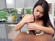 Amazing Asian slut sucking and fucking huge black cock