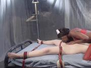 Ebony nurse anal fucks lesbian patient