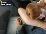OMG! Ginger babe goes down and blows a very big cock