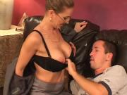 Raunchy Blonde Housewife Crams Rod In Throat & Cherry Top