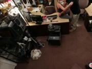 Blonde babe screwed by pawnshop owner inside his office