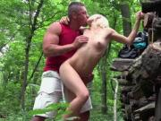 Hot Euro babe Zazie Skymm gets her pussy fucked hard in the woods
