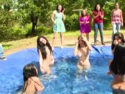 Lesbian pool hazing fun