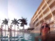Prolapsed ass squirts milk in the pool