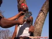 African chick with leather mask gets pussy and tits abused