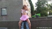 Crazy teen couple fucking in public