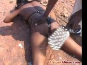 African slave bitch gets whipped outdoors