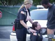 Black stud arrested forced blowjob ride busty cops