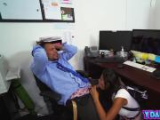 Aggressive brunette college girl sneaky blowjob at dad's office