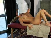 Busty babe gets pounded by her masseur on massage table