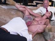 Horny old woman and muscle Ivy impresses with her ample breasts and