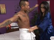 Masseuse in glasses Kayme Kai gets her ass fucked by client
