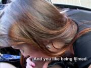 Busty Euro babe Barbara Bieber blowjobs in the car