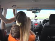 Driving instructor bangs natural busty teen