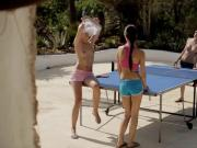 Three lovely teens intimate lesbian sex on table tennis