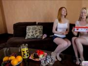 Two skinny teens intimate lesbian action on the bed