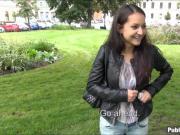 Pretty brunette Eurobabe Lili Devil facialed for money