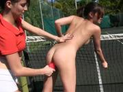 Horny pledges make out with the sisters in tennis field