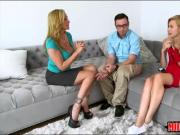 Alexa Grace shared a cock with sexy stepmom on the couch