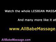 Lesbian babe eats out masseuse