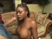 Chocolate Babe Cums Over 2 Studs