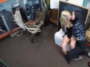 Lesbian couple get fucked by horny pawn man to earn money