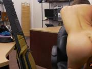 Sexy brunette babe goes naked and fucked by pawn guy