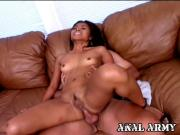 Pleasing army hooker Arcadia Davida riding anally a huge cock