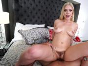 Busty blonde gives viewers jerk off instructions
