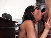 Principal bangs huge tits brunette student