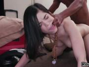 Dark Haired Teen Jen Gets Black Schlong From Behind