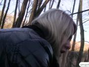 A horny dude gives Nikky Dream some cash for an outdoor sex