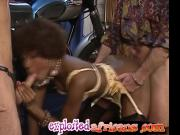 Black babe from Africa sucks white dicks and gets trimmed pussy drilled