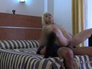 Slim blonde in stockings bangs fake cop