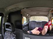 Busty redheads tribbing in fake taxi