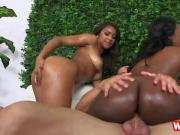 Ebonies Skyler And Nicole bouncing on white cock