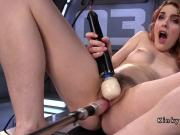 Hairy twat redhead fucks machine and squirts