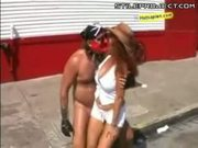 Slut gets jizzed on in public