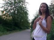 Amateur Czech girl pussy fucked in public for some cash
