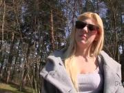 Blonde Czech amateur banged outdoor in public park
