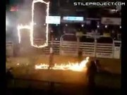 Fire Hoop Stunt Goes Bad