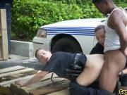 Outdoor threesome with big black cocked dude and two uniformed female cops!