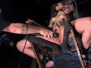 Inked petite brunette slave hard toyed