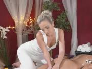 Brunette lesbo gets stones massage