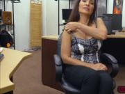Hot MILF Sophie Leon gives pawnman a blowjob for money