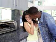 Asian Babe Cindy Blowing Black Schlong In Kitchen