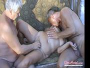 Threesome couple with two old men