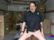 Curvy females in cop uniform are having hot interracial sex with black guy