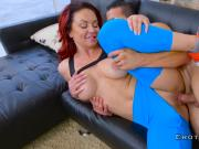 Redhead milf with big boobs and ass riding cock